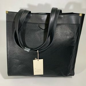 A New Day- Boxy Faux-Leather Tote Handbag